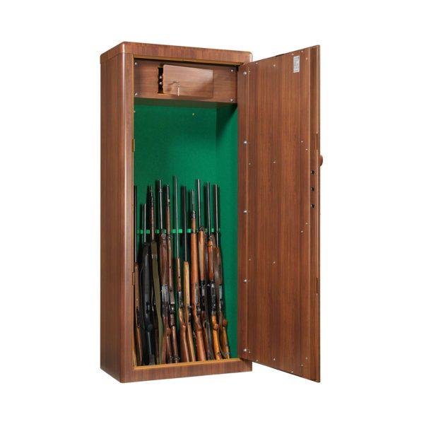 armoire à fusils couleur bois certifiée anti-vol et anti-feu