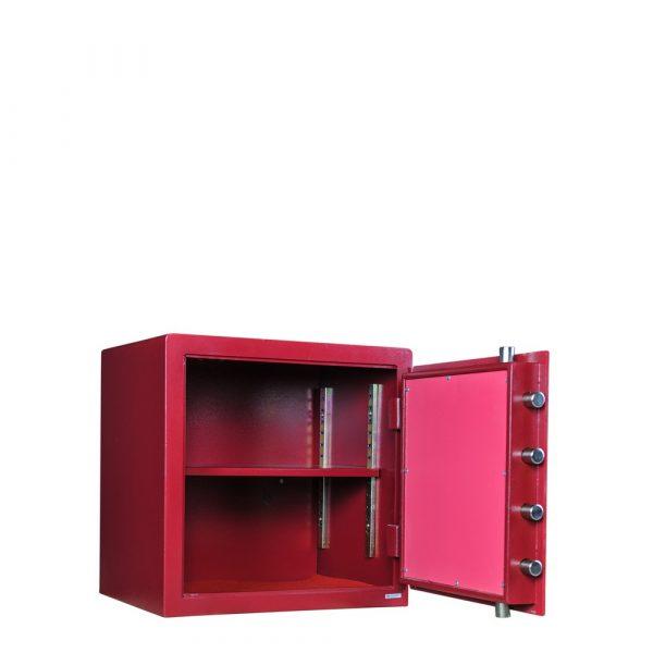 Beau coffre-fort rouge et doré Mustang Safes